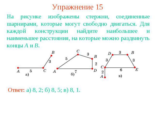 Упражнение 15На рисунке изображены стержни, соединенные шарнирами, которые могут свободно двигаться. Для каждой конструкции найдите наибольшее и наименьшее расстояния, на которые можно раздвинуть концы A и B.