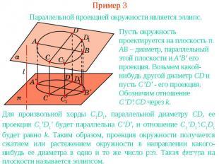 Пример 3Параллельной проекцией окружности является эллипс.Пусть окружность проек