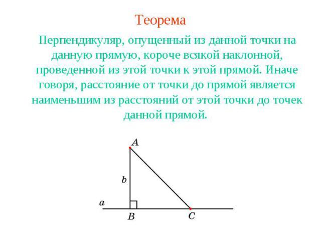 ТеоремаПерпендикуляр, опущенный из данной точки на данную прямую, короче всякой наклонной, проведенной из этой точки к этой прямой. Иначе говоря, расстояние от точки до прямой является наименьшим из расстояний от этой точки до точек данной прямой.
