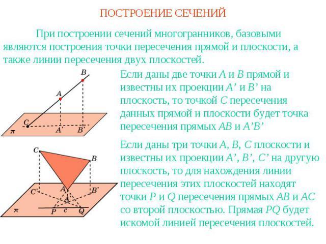 ПОСТРОЕНИЕ СЕЧЕНИЙПри построении сечений многогранников, базовыми являются построения точки пересечения прямой и плоскости, а также линии пересечения двух плоскостей.Если даны две точки A и B прямой и известны их проекции A' и B' на плоскость, то то…