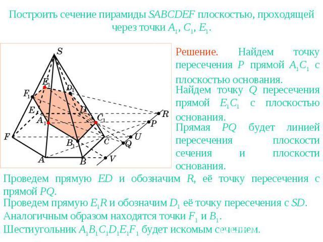 Упражнение 25Построить сечение пирамиды SABCDEF плоскостью, проходящей через точки A1, C1, E1.Решение. Найдем точку пересечения P прямой A1C1 с плоскостью основания.Найдем точку Q пересечения прямой E1C1 с плоскостью основания.Прямая PQ будет линией…