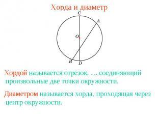 Хорда и диаметр соединяющий произвольные две точки окружности. проходящая через