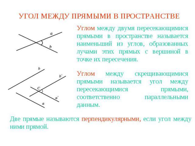УГОЛ МЕЖДУ ПРЯМЫМИ В ПРОСТРАНСТВЕУглом между двумя пересекающимися прямыми в пространстве называется наименьший из углов, образованных лучами этих прямых с вершиной в точке их пересечения.Углом между скрещивающимися прямыми называется угол между пер…