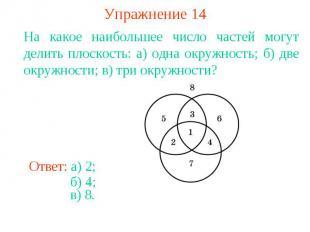 Упражнение 14На какое наибольшее число частей могут делить плоскость: а) одна ок