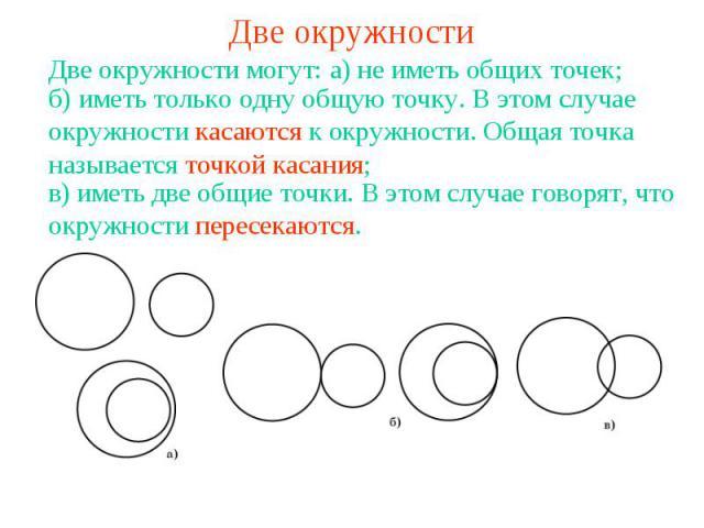Две окружностиДве окружности могут:б) иметь только одну общую точку. В этом случае окружности касаются к окружности. Общая точка называется точкой касания;в) иметь две общие точки. В этом случае говорят, что окружности пересекаются.