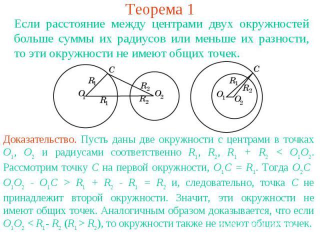 Теорема 1Если расстояние между центрами двух окружностей больше суммы их радиусов или меньше их разности, то эти окружности не имеют общих точек.Доказательство. Пусть даны две окружности с центрами в точках О1, О2 и радиусами соответственно R1, R2, …