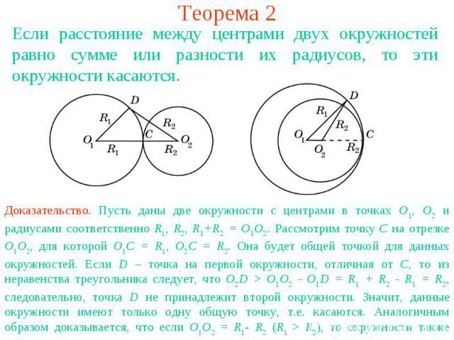 Теорема 2Если расстояние между центрами двух окружностей равно сумме или разности их радиусов, то эти окружности касаются. Доказательство. Пусть даны две окружности с центрами в точках О1, О2 и радиусами соответственно R1, R2, R1+R2 = O1O2. Рассмотр…