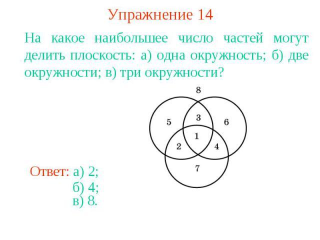 Упражнение 14На какое наибольшее число частей могут делить плоскость: а) одна окружность; б) две окружности; в) три окружности?