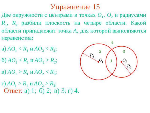 Упражнение 15Две окружности с центрами в точках O1, O2 и радиусами R1, R2 разбили плоскость на четыре области. Какой области принадлежит точка A, для которой выполняются неравенства: а) AO1 < R1 и AO2 < R2;б) AO1 < R1 и AO2 > R2;в) AO1 > R1 и AO2 < …