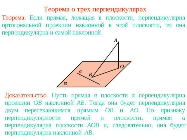 Теорема о трех перпендикулярахТеорема. Если прямая, лежащая в плоскости, перпендикулярна ортогональной проекции наклонной к этой плоскости, то она перпендикулярна и самой наклонной.Доказательство. Пусть прямая а плоскости α перпендикулярна проекции …