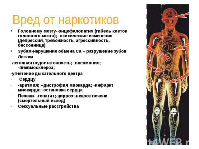 Вред от наркотиковГоловному мозгу--энцефалопатия (гибель клеток головного мозга); -психические изменения (депрессия, тревожность, агрессивность, бессонница)Зубам-нарушение обмена Са – разрушение зубовЛегким-легочная недостаточность; -пневмония; -пне…
