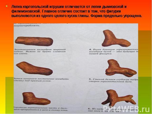 Лепка каргопольской игрушки отличается от лепки дымковской и филимоновской. Главное отличие состоит в том, что фигурки выполняются из одного целого куска глины. Форма предельно упрощена.