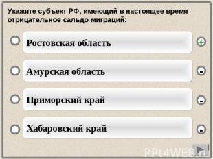 Укажите субъект РФ, имеющий в настоящее время отрицательное сальдо миграций: