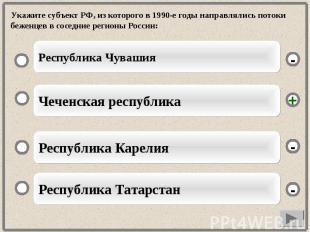 Укажите субъект РФ, из которого в 1990-е годы направлялись потоки беженцев в сос