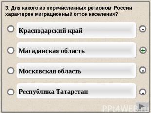 3. Для какого из перечисленных регионов России характерен миграционный отток нас