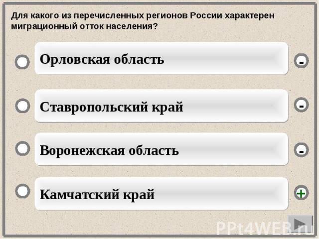 Для какого из перечисленных регионов России характерен миграционный отток населения?