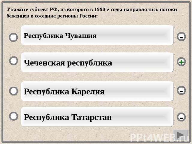 Укажите субъект РФ, из которого в 1990-е годы направлялись потоки беженцев в соседние регионы России: