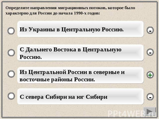 Определите направления миграционных потоков, которое было характерно для России до начала 1990-х годов: