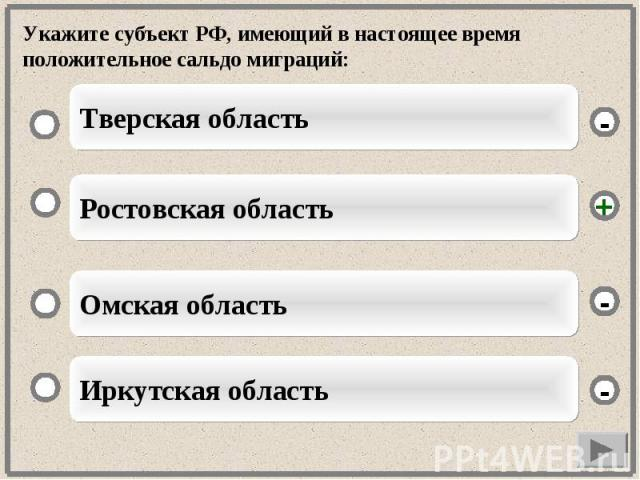Укажите субъект РФ, имеющий в настоящее время положительное сальдо миграций: