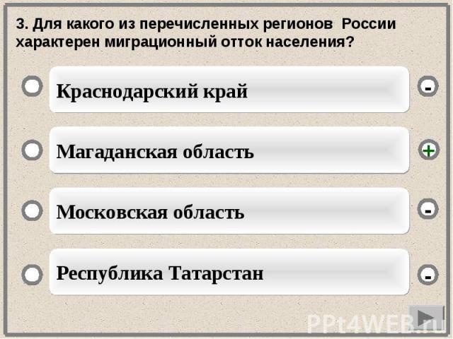 3. Для какого из перечисленных регионов России характерен миграционный отток населения?