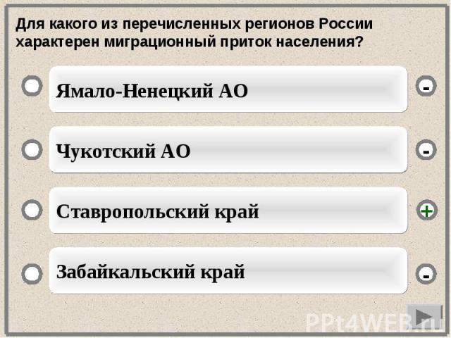 Для какого из перечисленных регионов России характерен миграционный приток населения?