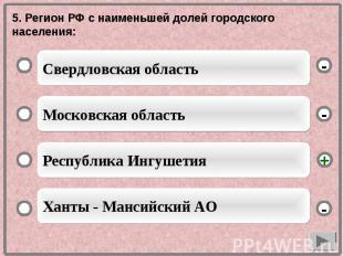 5. Регион РФ с наименьшей долей городского населения: