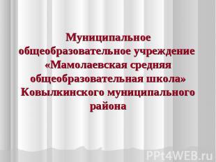 Муниципальное общеобразовательное учреждение «Мамолаевская средняя общеобразоват