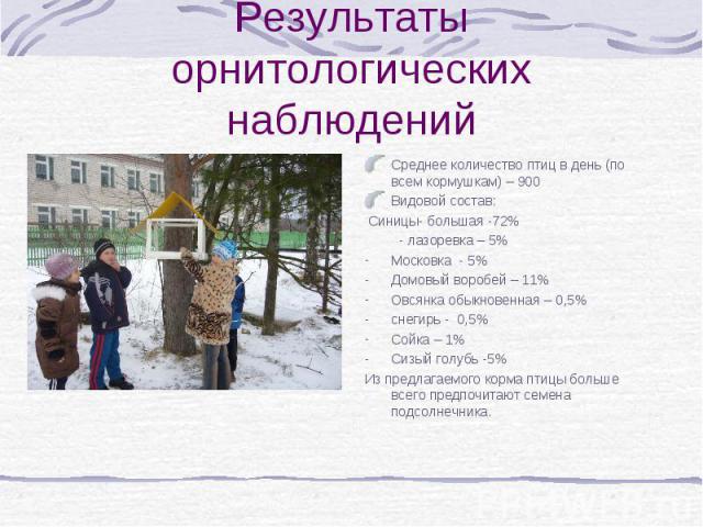 Результаты орнитологических наблюденийСреднее количество птиц в день (по всем кормушкам) – 900Видовой состав: Синицы- большая -72% - лазоревка – 5%Московка - 5%Домовый воробей – 11%Овсянка обыкновенная – 0,5%снегирь - 0,5%Сойка – 1%Сизый голубь -5%И…