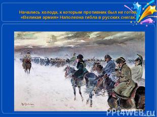 Начались холода, к которым противник был не готов. «Великая армия» Наполеона гиб