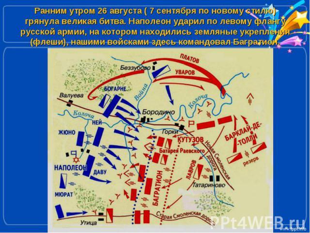 Ранним утром 26 августа ( 7 сентября по новому стилю) грянула великая битва. Наполеон ударил по левому флангу русской армии, на котором находились земляные укрепления (флеши), нашими войсками здесь командовал Багратион.