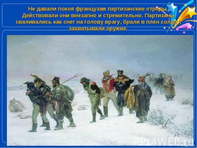 Не давали покоя французам партизанские отряды. Действовали они внезапно и стремительно. Партизаны сваливались как снег на голову врагу, брали в плен солдат, захватывали оружие.