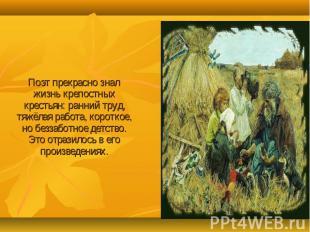 Поэт прекрасно знал жизнь крепостных крестьян: ранний труд, тяжёлая работа, коро