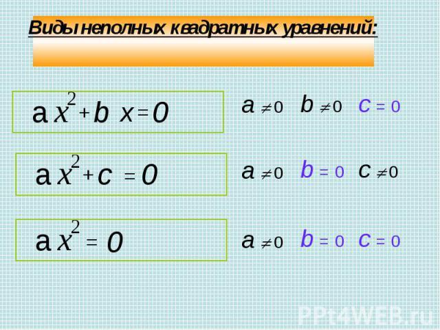 Виды неполных квадратных уравнений: