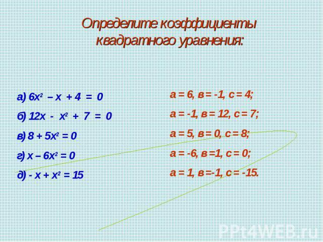 Определите коэффициенты квадратного уравнения:а) 6х2 – х + 4 = 0б) 12х - х2 + 7 = 0в) 8 + 5х2 = 0г) х – 6х2 = 0д) - х + х2 = 15а = 6, в = -1, с = 4;а = -1, в = 12, с = 7;а = 5, в = 0, с = 8;а = -6, в =1, с = 0;а = 1, в =-1, с = -15.