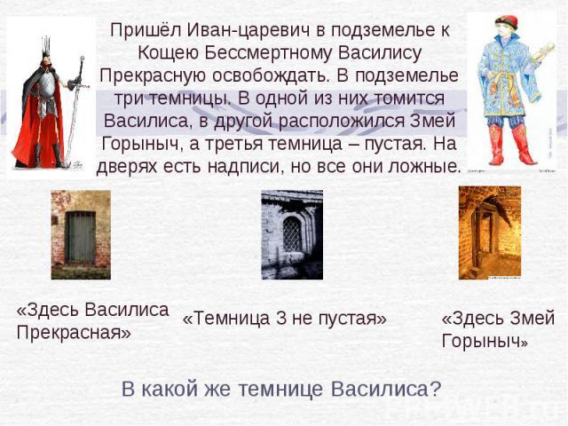 Пришёл Иван-царевич в подземелье к Кощею Бессмертному Василису Прекрасную освобождать. В подземелье три темницы. В одной из них томится Василиса, в другой расположился Змей Горыныч, а третья темница – пустая. На дверях есть надписи, но все они ложны…