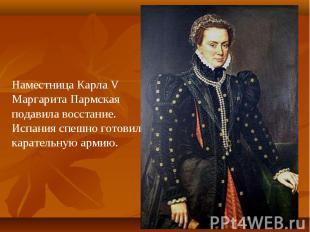 Наместница Карла V Маргарита Пармская подавила восстание.Испания спешно готовила