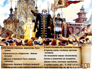 3. И к толпе горожан, верность Руси храня, Обратился их староста - Минин Кузьма: