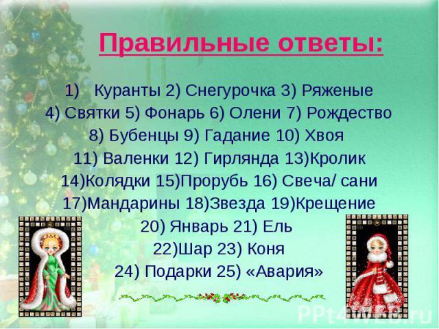 Правильные ответы:Куранты 2) Снегурочка 3) Ряженые4) Святки 5) Фонарь 6) Олени 7) Рождество8) Бубенцы 9) Гадание 10) Хвоя 11) Валенки 12) Гирлянда 13)Кролик14)Колядки 15)Прорубь 16) Свеча/ сани17)Мандарины 18)Звезда 19)КрещениеЯнварь 21) Ель 22)Шар …