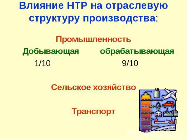 Влияние НТР на отраслевую структуру производства:Промышленность Добывающая обрабатывающая 1/10 9/10Сельское хозяйствоТранспорт