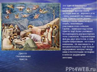 Это один из бесспорных шедевров Джотто. Поражает композиция фрески: скала, летящ