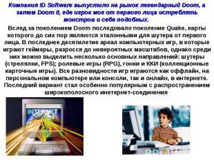 Компания ID Software выпустило на рынок легендарный Doom, а затем Doom II, где и