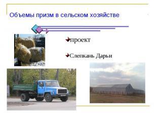 Объемы призм в сельском хозяйствепроектСлепкань Дарьи