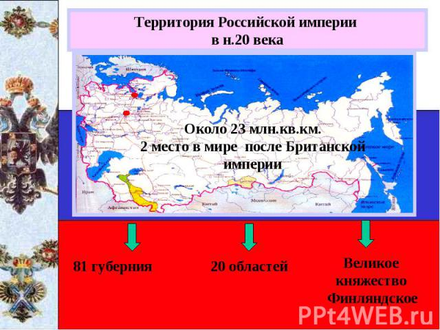 Территория Российской империи в н.20 векаОколо 23 млн.кв.км.2 место в мире после Британской империи