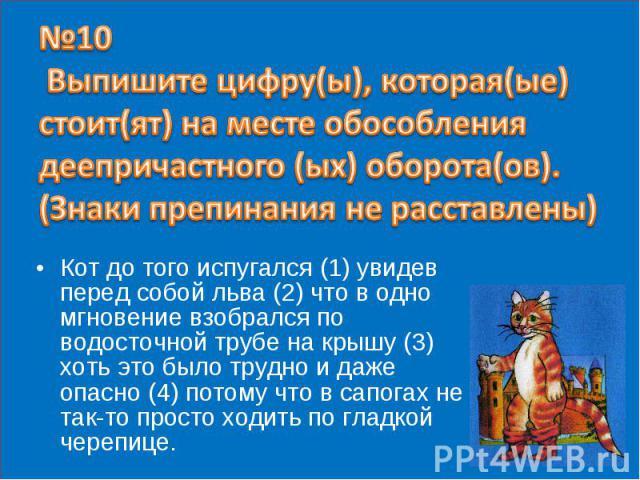 №10 Выпишите цифру(ы), которая(ые) стоит(ят) на месте обособления деепричастного (ых) оборота(ов). (Знаки препинания не расставлены) Кот до того испугался (1) увидев перед собой льва (2) что в одно мгновение взобрался по водосточной трубе на крышу (…