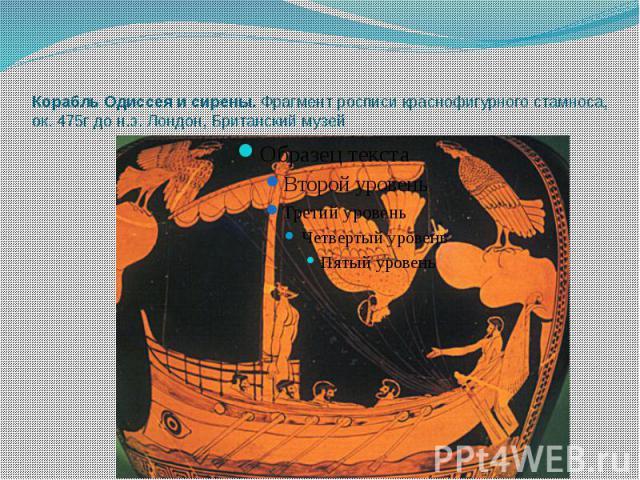 Корабль Одиссея и сирены. Фрагмент росписи краснофигурного стамноса, ок. 475г до н.э. Лондон, Британский музей