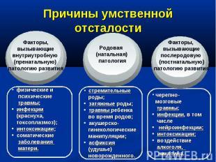Причины умственной отсталостиФакторы, вызывающие внутриутробную (пренатальную) п