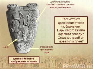 Стебли растения. Каждый стебель означал тысячу пленниковРассмотрите древнеегипет