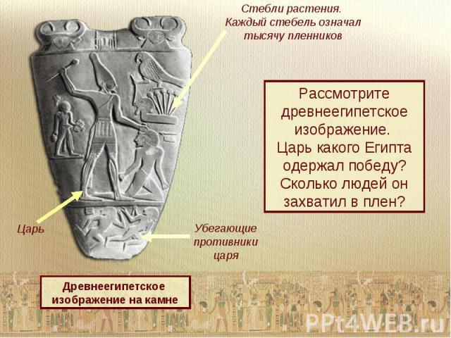 Стебли растения. Каждый стебель означал тысячу пленниковРассмотрите древнеегипетское изображение. Царь какого Египта одержал победу?Сколько людей он захватил в плен?Древнеегипетское изображение на камне