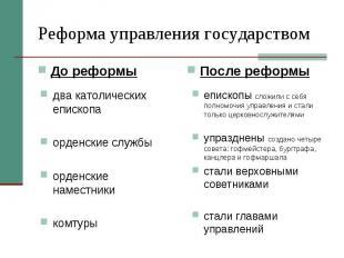 Реформа управления государствомдва католических епископаорденские службыорденски