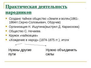 Практическая деятельность народниковСоздано тайное общество «Земля и воля»(1861-